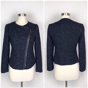 Ann Taylor Navy Asymmetrical Zip Tweed Jacket